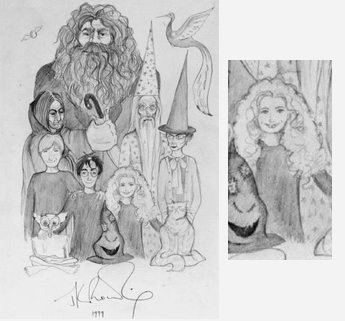 A sketch of Hagrid, Snape, Dumbledore, McGonagall, Ron, Harry, Hermione, the Sorting Hat and Dobby all stood together; a close up shows the Hermione sketch: long bushy hair and pale skin