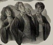Sketch of the main trio stood together in their robes