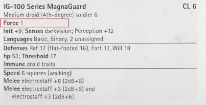 Screenshot of the abilities of a IG-100 Series MagnaGuard; it lists various details and Force is set to 1