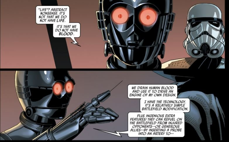 The droid goes on to explain it isn't that droids are not alive that they can't use the Force, it's because they have no blood. A purpose built droid with blood should be Force-sensitive.