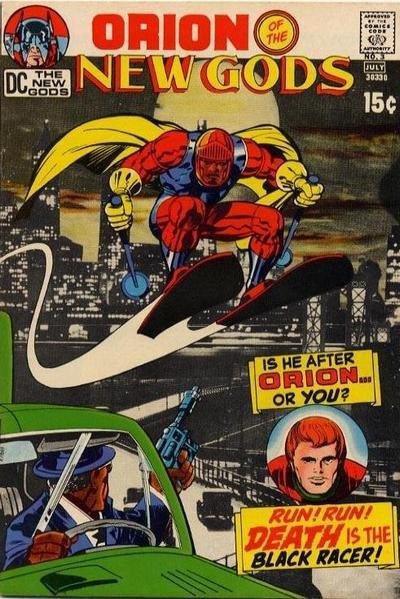 New Gods 3 cover; Black Racer poiting a gun at New God Orion