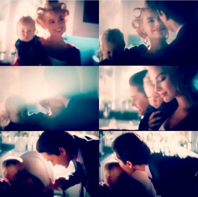 Harley Quinn and the Joker dream sequence stills from Suicide Squad with them married and having a baby child
