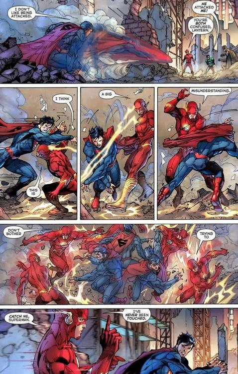 Superman trying to bring the pain to the Flash