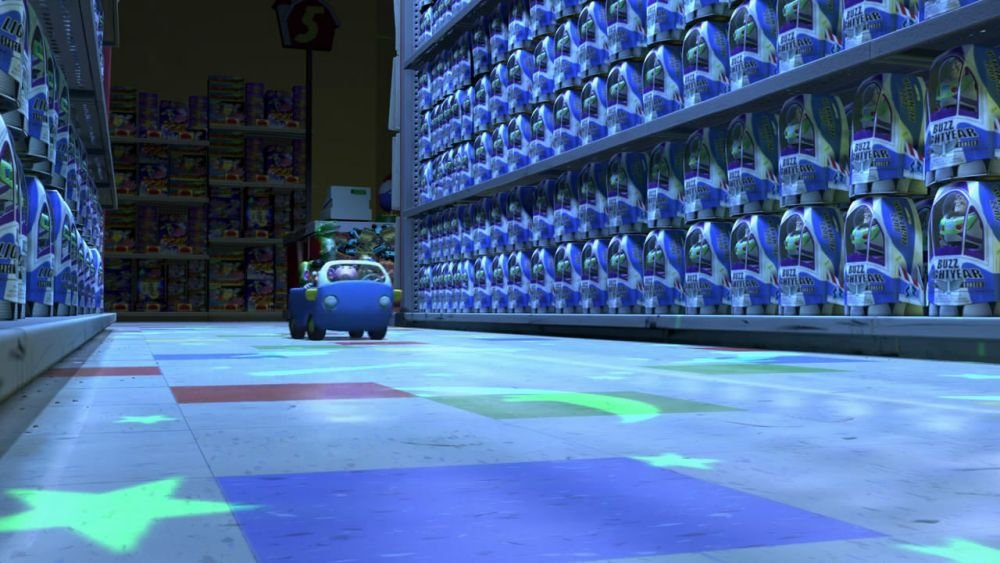 The aisle full of Buzz Lightyear toys at Al's Toy Barn