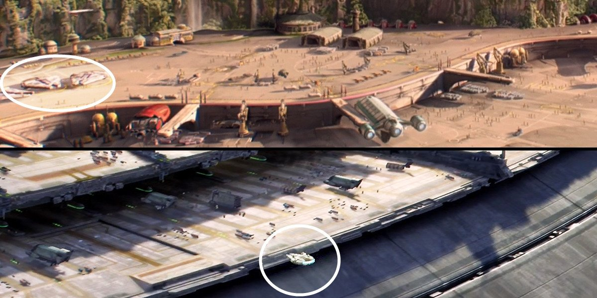 YT-1300f freighters (Millenium Falcon type) in Star Wars prequels